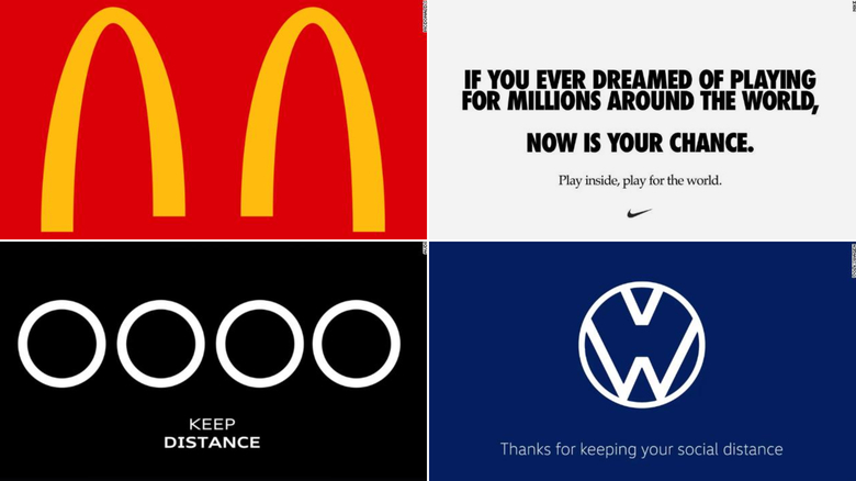 McDonalds, Nike, Audi and Volkswagen edit their logos to reflect social distancing efforts